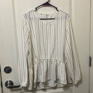 Long sleeved white gold stripe blouse